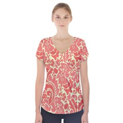 Red Floral Short Sleeve Front Detail Top