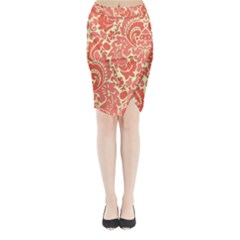 Red Floral Midi Wrap Pencil Skirt