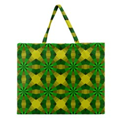 Background Colour Circle Yellow Green Zipper Large Tote Bag