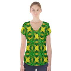 Background Colour Circle Yellow Green Short Sleeve Front Detail Top
