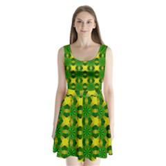 Background Colour Circle Yellow Green Split Back Mini Dress