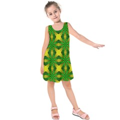 Background Colour Circle Yellow Green Kids  Sleeveless Dress
