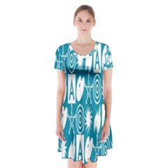 Act Symbols Short Sleeve V-neck Flare Dress