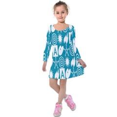 Act Symbols Kids  Long Sleeve Velvet Dress