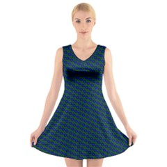 Chain Blue Green Woven Fabric V-Neck Sleeveless Skater Dress