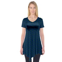 Chain Blue Green Woven Fabric Short Sleeve Tunic