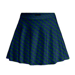 Chain Blue Green Woven Fabric Mini Flare Skirt