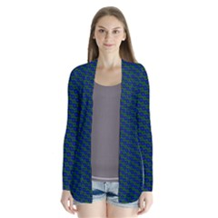 Chain Blue Green Woven Fabric Cardigans