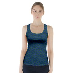 Chain Blue Green Woven Fabric Racer Back Sports Top