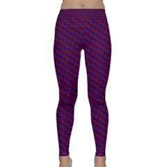 Chain Blue Red Woven Fabric Classic Yoga Leggings