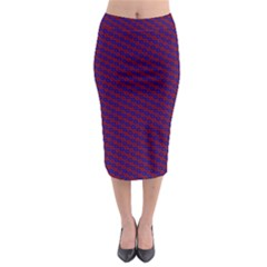 Chain Blue Red Woven Fabric Midi Pencil Skirt