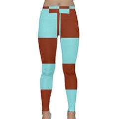 Box Chevron Brown Blue Classic Yoga Leggings