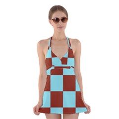 Box Chevron Brown Blue Halter Swimsuit Dress