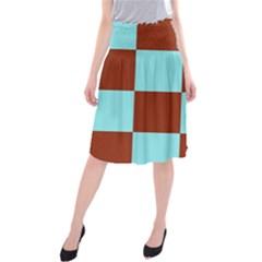Box Chevron Brown Blue Midi Beach Skirt