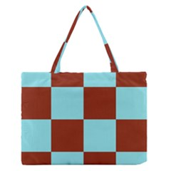 Box Chevron Brown Blue Medium Zipper Tote Bag