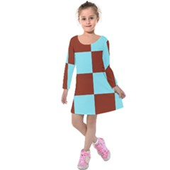 Box Chevron Brown Blue Kids  Long Sleeve Velvet Dress