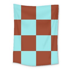 Box Chevron Brown Blue Medium Tapestry
