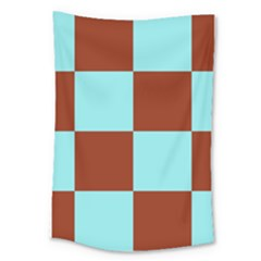Box Chevron Brown Blue Large Tapestry