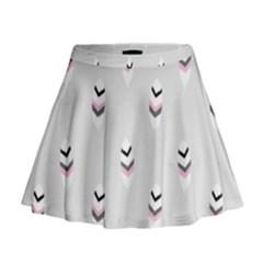 Bird Feathers Purple Gray Mini Flare Skirt