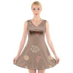 Bread Cake Brown V-Neck Sleeveless Skater Dress