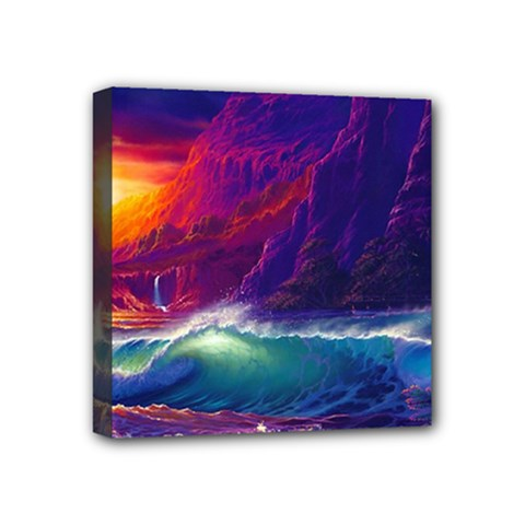 Sunset Orange Sky Dark Cloud Sea Waves Of The Sea, Rocky Mountains Art Mini Canvas 4  X 4