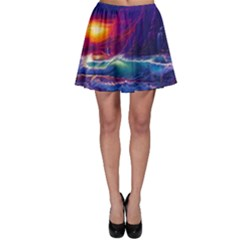 Sunset Orange Sky Dark Cloud Sea Waves Of The Sea, Rocky Mountains Art Skater Skirt