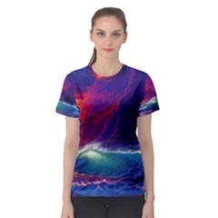 Sunset Orange Sky Dark Cloud Sea Waves Of The Sea, Rocky Mountains Art Women s Sport Mesh Tee
