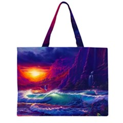 Sunset Orange Sky Dark Cloud Sea Waves Of The Sea, Rocky Mountains Art Large Tote Bag