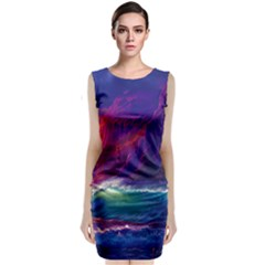 Sunset Orange Sky Dark Cloud Sea Waves Of The Sea, Rocky Mountains Art Sleeveless Velvet Midi Dress