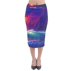 Sunset Orange Sky Dark Cloud Sea Waves Of The Sea, Rocky Mountains Art Velvet Midi Pencil Skirt