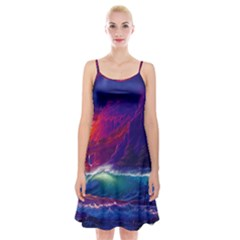 Sunset Orange Sky Dark Cloud Sea Waves Of The Sea, Rocky Mountains Art Spaghetti Strap Velvet Dress