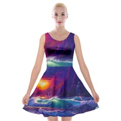 Sunset Orange Sky Dark Cloud Sea Waves Of The Sea, Rocky Mountains Art Velvet Skater Dress