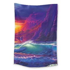 Sunset Orange Sky Dark Cloud Sea Waves Of The Sea, Rocky Mountains Art Large Tapestry