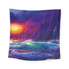 Sunset Orange Sky Dark Cloud Sea Waves Of The Sea, Rocky Mountains Art Square Tapestry (Small)