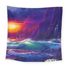 Sunset Orange Sky Dark Cloud Sea Waves Of The Sea, Rocky Mountains Art Square Tapestry (large)