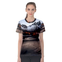 Vestrahorn Iceland Winter Sunrise Landscape Sea Coast Sandy Beach Sea Mountain Peaks With Snow Blue Women s Sport Mesh Tee