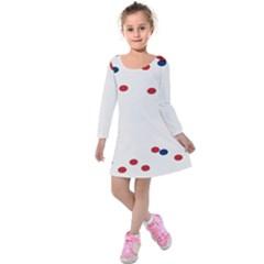 Circle Red Blue Kids  Long Sleeve Velvet Dress