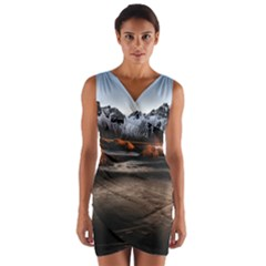 Vestrahorn Iceland Winter Sunrise Landscape Sea Coast Sandy Beach Sea Mountain Peaks With Snow Blue Wrap Front Bodycon Dress