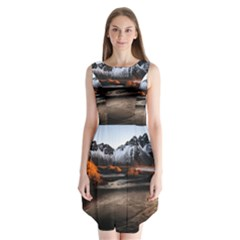 Vestrahorn Iceland Winter Sunrise Landscape Sea Coast Sandy Beach Sea Mountain Peaks With Snow Blue Sleeveless Chiffon Dress