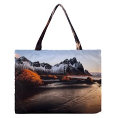 Vestrahorn Iceland Winter Sunrise Landscape Sea Coast Sandy Beach Sea Mountain Peaks With Snow Blue Medium Zipper Tote Bag