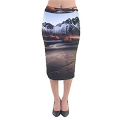 Vestrahorn Iceland Winter Sunrise Landscape Sea Coast Sandy Beach Sea Mountain Peaks With Snow Blue Velvet Midi Pencil Skirt