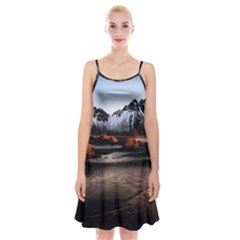 Vestrahorn Iceland Winter Sunrise Landscape Sea Coast Sandy Beach Sea Mountain Peaks With Snow Blue Spaghetti Strap Velvet Dress