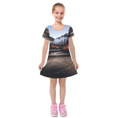 Vestrahorn Iceland Winter Sunrise Landscape Sea Coast Sandy Beach Sea Mountain Peaks With Snow Blue Kids  Short Sleeve Velvet Dress