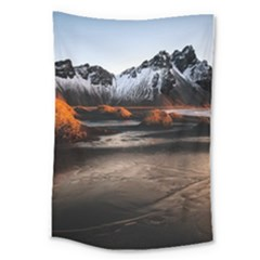 Vestrahorn Iceland Winter Sunrise Landscape Sea Coast Sandy Beach Sea Mountain Peaks With Snow Blue Large Tapestry