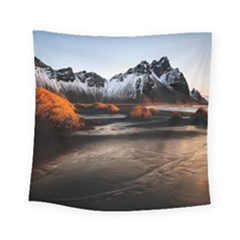 Vestrahorn Iceland Winter Sunrise Landscape Sea Coast Sandy Beach Sea Mountain Peaks With Snow Blue Square Tapestry (Small)
