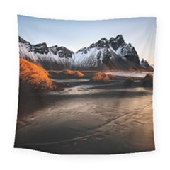 Vestrahorn Iceland Winter Sunrise Landscape Sea Coast Sandy Beach Sea Mountain Peaks With Snow Blue Square Tapestry (large)