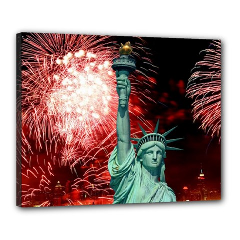 The Statue Of Liberty And 4th Of July Celebration Fireworks Canvas 20  x 16