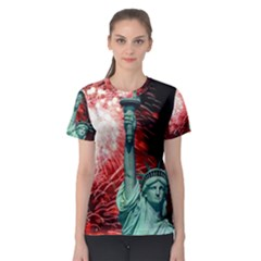 The Statue Of Liberty And 4th Of July Celebration Fireworks Women s Sport Mesh Tee