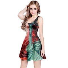 The Statue Of Liberty And 4th Of July Celebration Fireworks Reversible Sleeveless Dress