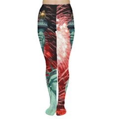 The Statue Of Liberty And 4th Of July Celebration Fireworks Women s Tights